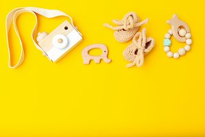 Wooden toys and baby shoes
