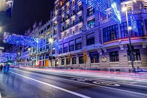 Gran Via of Madrid illuminated