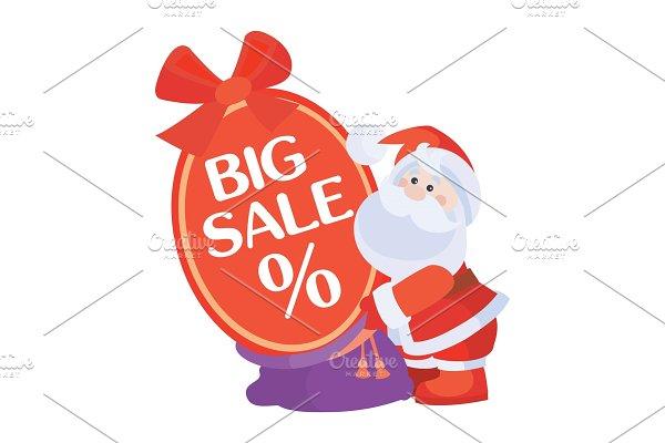 Christmas Sale Vector Icon. Santa