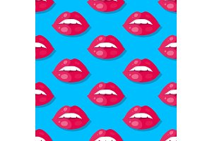 Womens Lips Seamless Pattern Vector