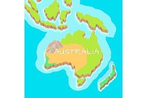 Australia Mainland Vector Cartoon