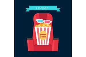 Cinema Objects Set Isolated. Movie