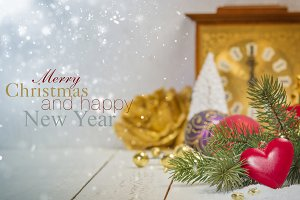Christmas decoration on white rustic
