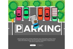 Parking Conceptual Web Banner. Car