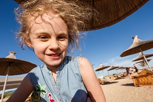 Wide angle portrait of cheerful chil