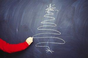 Hand Drawn Christmas Tree Chalk Blac