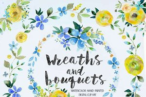 Watercolor bouquets & wreaths Vol.1