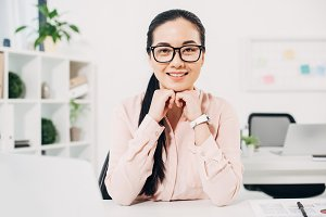 Attractive businesswoman  smiling in