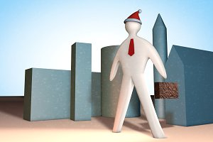 3d businessman illustration with cas
