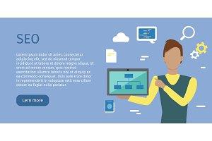 SEO conceptual Vector Web Banners in