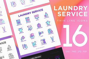 Laundry Service | 16 Thin Line Icons