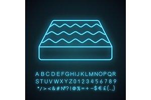 Orthopedic bed mattress neon icon