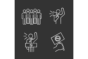Protest action chalk icons set