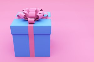 Painted Blue Gift Box on pink
