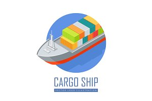 Cargo Ship Vector Icon in Isometric