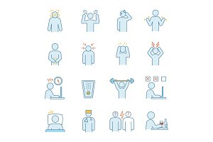 Emotional stress color icons set