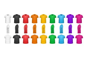 Color T-shirts Front View Vector Set