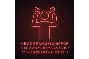 Angry person neon light icon