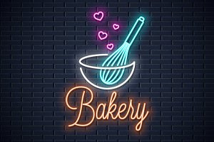 Baking with wire whisk neon sign.
