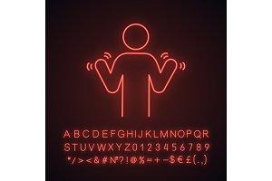 Hands tremor neon light icon