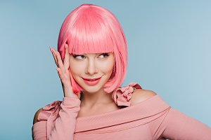 Woman in pink wig
