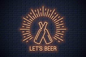 Beer bottles neon sign.