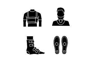 Trauma treatment glyph icons set