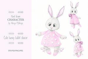 Cute bunny - hand drawn illustration
