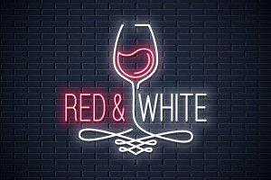 Wine glass neon banner.