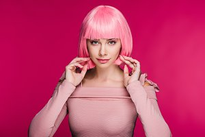 Beautiful woman in pink wig