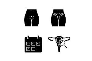 Gynecology glyph icons set
