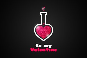 Valentines day love potion logo.
