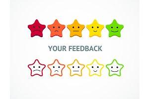 Feedback or Rating Stars Emoticon.