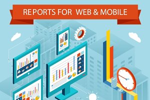 Business charts and reports on web