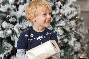 Little boy with blond hair smiles on
