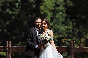 Pretty, happy bride and stylish groo
