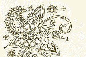Floral element in mehndi style