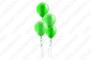 Green Party Balloons Graphic