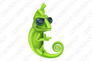 Chameleon Cool Shades Cartoon Lizard