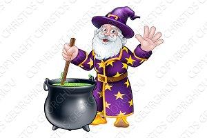 Wizard and Cauldron Cartoon