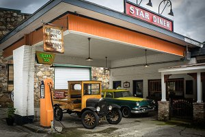Classic cars in Vintage Gas Station