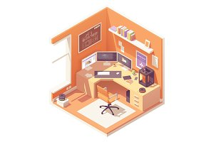 Vector isometric 3d artist workplace