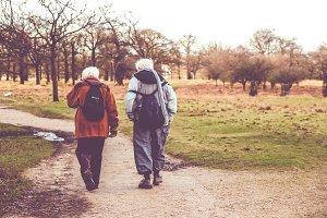 Traveling senior couple