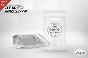 Clear /Foil Stand Up Pouch Mockup