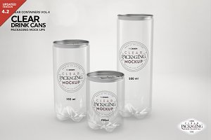 Clear Drink Cans Packaging Mockup
