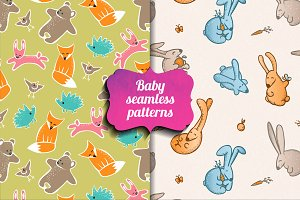 Baby seamless animal patterns.Vector