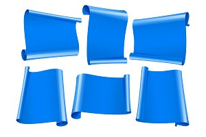 Blank scrolls of blue paper stickers