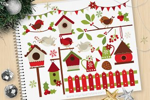 Christmas Red Robins Clipart + SVG
