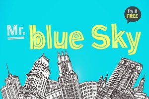 Mr. Blue Sky Handmade display font
