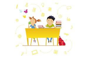 Back to school. Cute schoolchildren